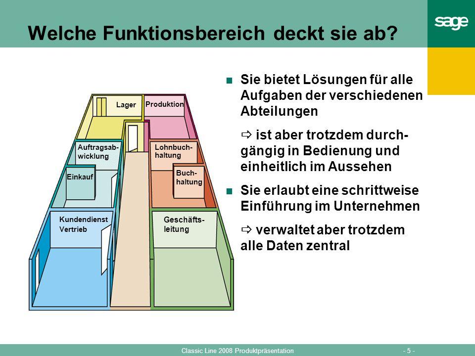 - 5 -Classic Line 2008 Produktpräsentation Produktion Buch- haltung Lohnbuch- haltung Geschäfts- leitung Lager Auftragsab- wicklung Einkauf Kundendien
