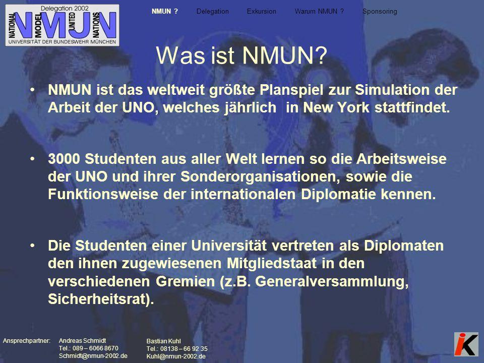 Ansprechpartner: Andreas Schmidt Tel.: 089 – 6066 8670 Schmidt@nmun-2002.de Bastian Kuhl Tel.: 08138 – 66 92 35 Kuhl@nmun-2002.de Was ist NMUN.