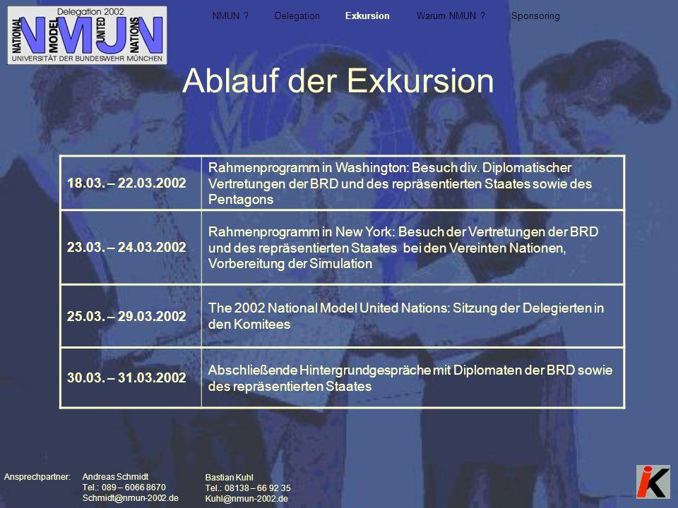 Ansprechpartner: Andreas Schmidt Tel.: 089 – 6066 8670 Schmidt@nmun-2002.de Bastian Kuhl Tel.: 08138 – 66 92 35 Kuhl@nmun-2002.de Ablauf der Exkursion NMUN .