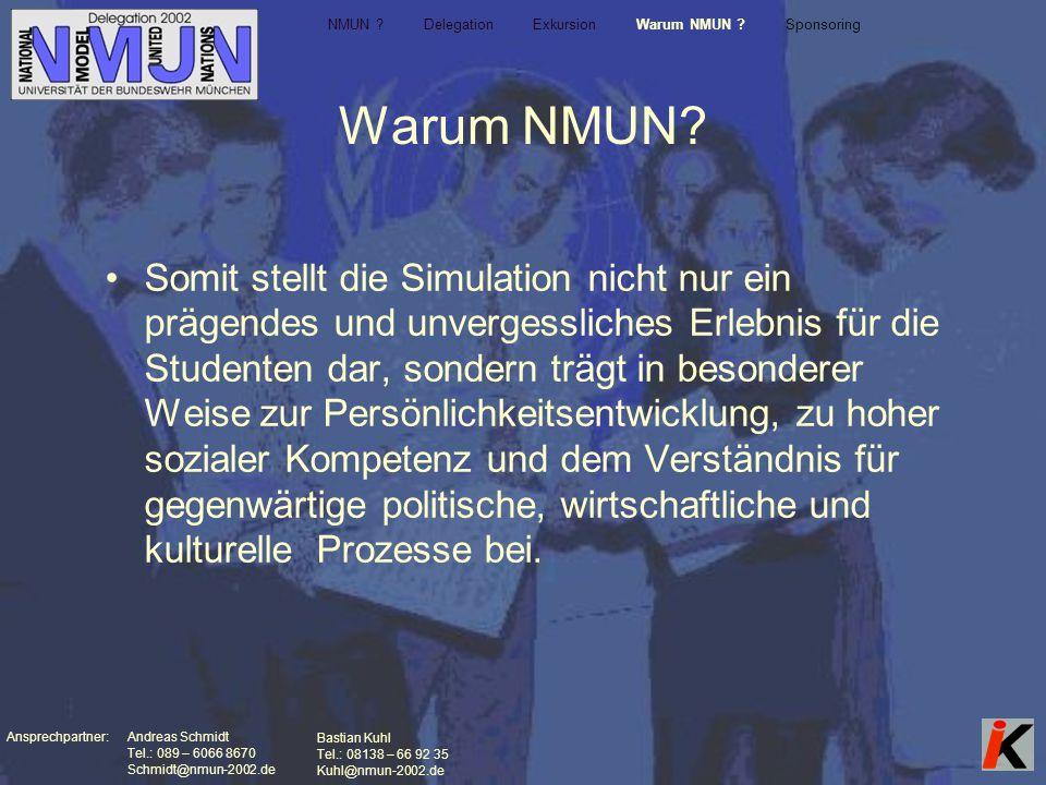 Ansprechpartner: Andreas Schmidt Tel.: 089 – 6066 8670 Schmidt@nmun-2002.de Bastian Kuhl Tel.: 08138 – 66 92 35 Kuhl@nmun-2002.de Warum NMUN.