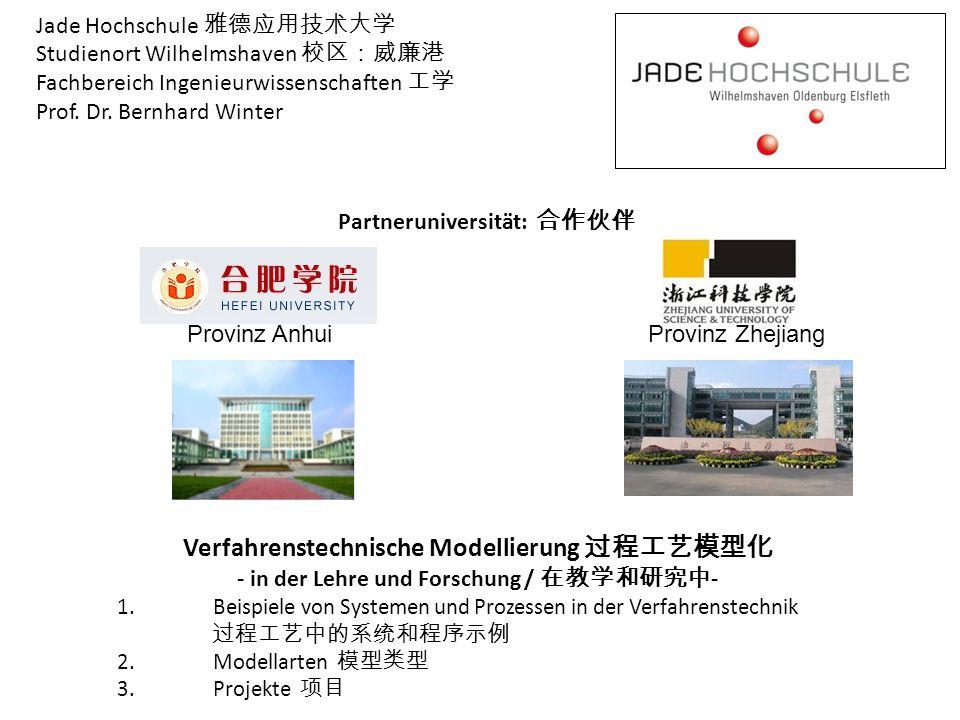 Jade Hochschule 雅德应用技术大学 Studienort Wilhelmshaven 校区:威廉港 Fachbereich Ingenieurwissenschaften 工学 Prof. Dr. Bernhard Winter Verfahrenstechnische Modelli