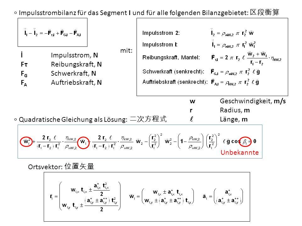 ∘ Impulsstrombilanz für das Segment I und für alle folgenden Bilanzgebietet: 区段衡算 mit: ∘ Quadratische Gleichung als Lösung: 二次方程式 İImpulsstrom, N F τ