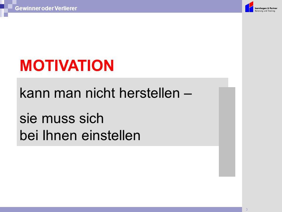 3 Gewinner oder Verlierer MOTIVATION kann man nicht herstellen – sie muss sich bei Ihnen einstellen