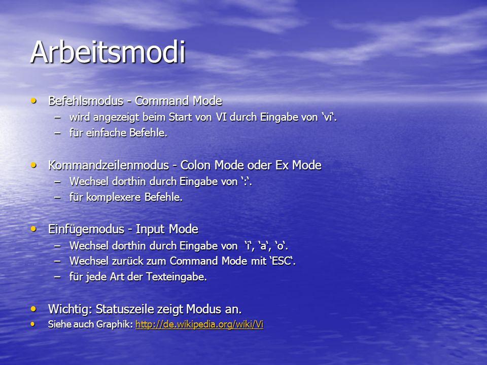 Arbeitsmodi Befehlsmodus - Command Mode Befehlsmodus - Command Mode –wird angezeigt beim Start von VI durch Eingabe von 'vi'.