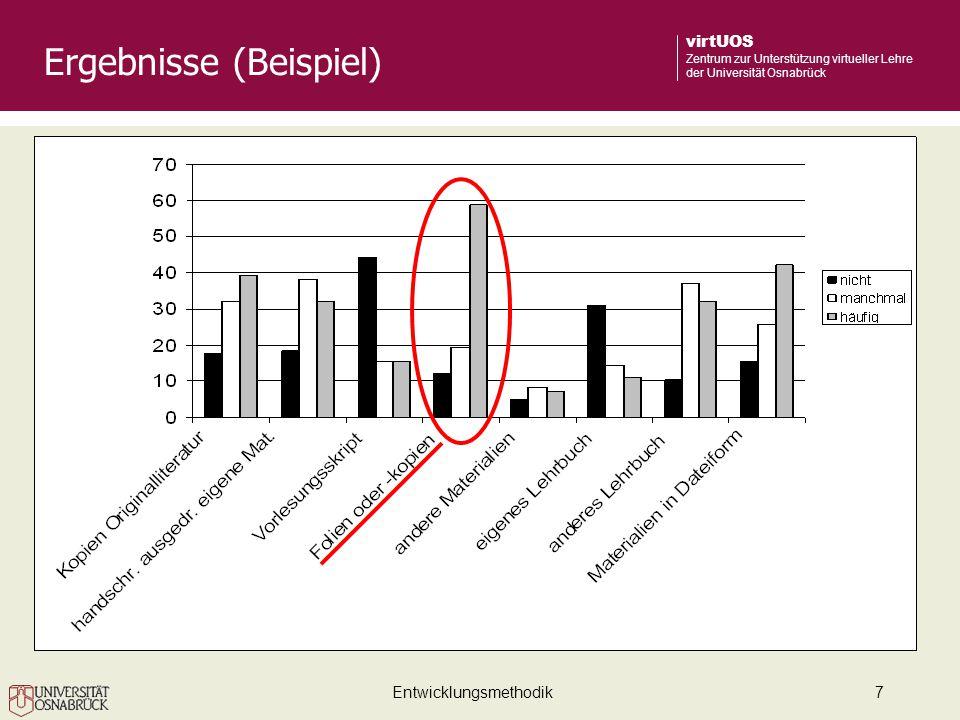 Entwicklungsmethodik7 virtUOS Zentrum zur Unterstützung virtueller Lehre der Universität Osnabrück Ergebnisse (Beispiel)