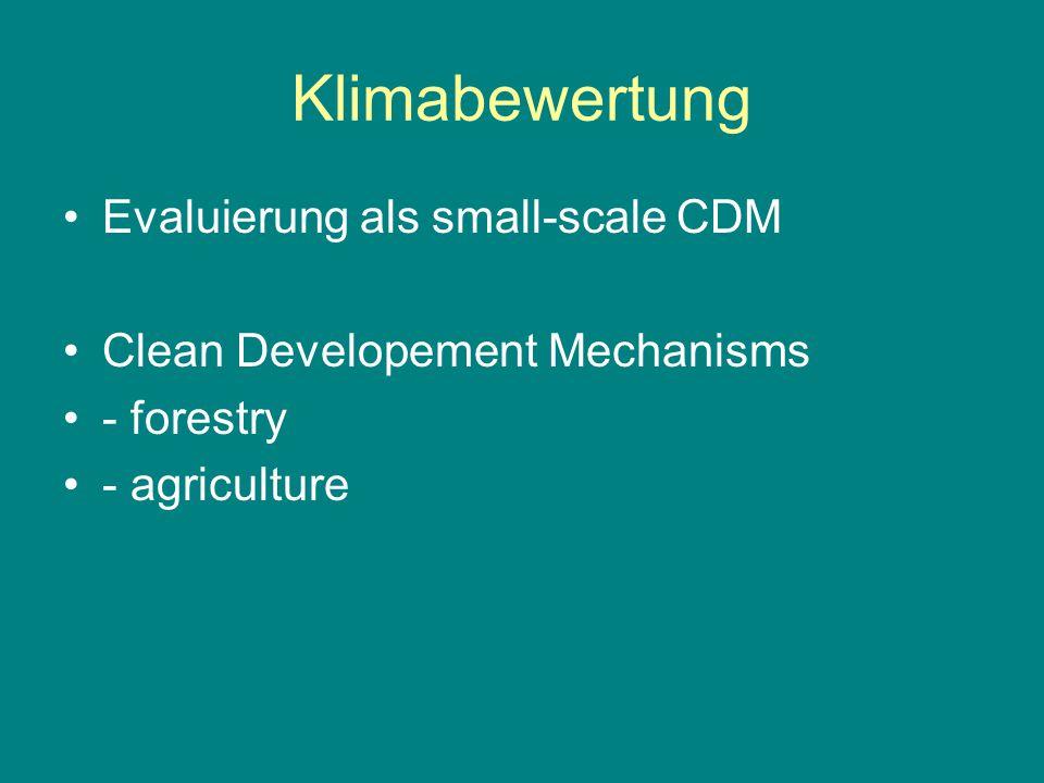 Klimabewertung Evaluierung als small-scale CDM Clean Developement Mechanisms - forestry - agriculture
