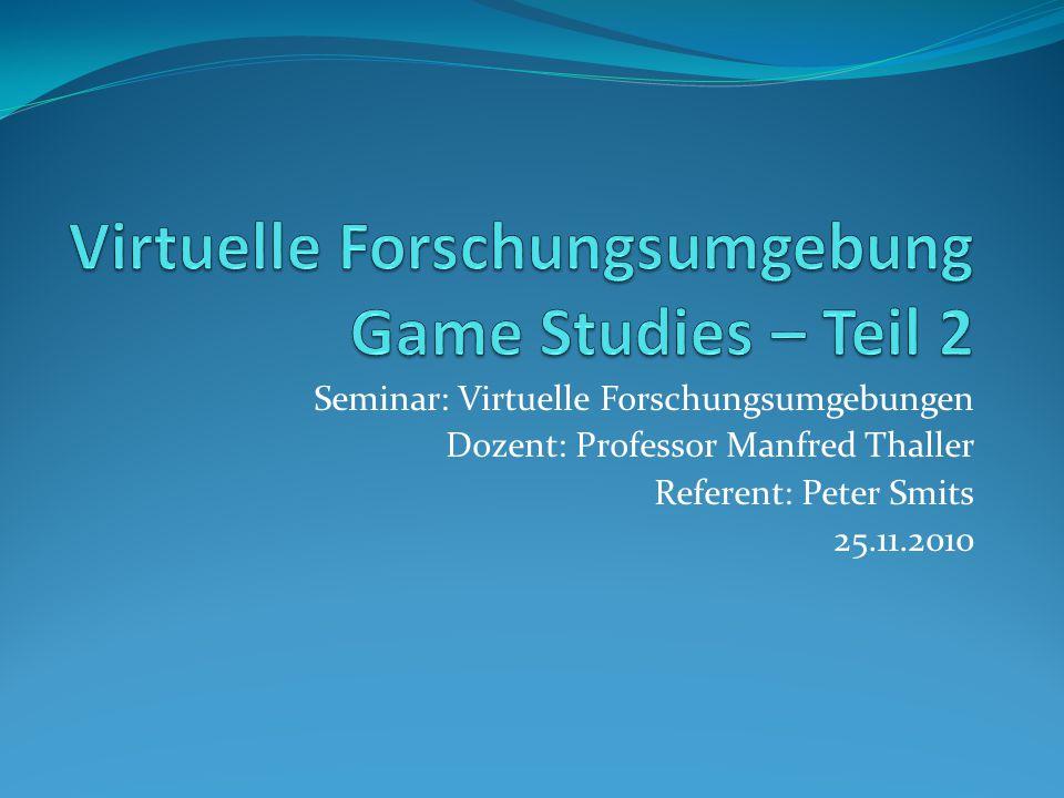 Seminar: Virtuelle Forschungsumgebungen Dozent: Professor Manfred Thaller Referent: Peter Smits 25.11.2010