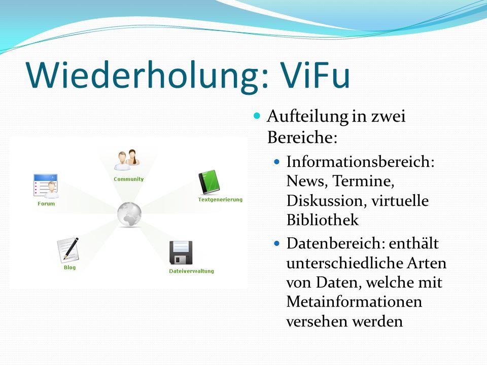 Wiederholung: ViFu Aufteilung in zwei Bereiche: Informationsbereich: News, Termine, Diskussion, virtuelle Bibliothek Datenbereich: enthält unterschiedliche Arten von Daten, welche mit Metainformationen versehen werden