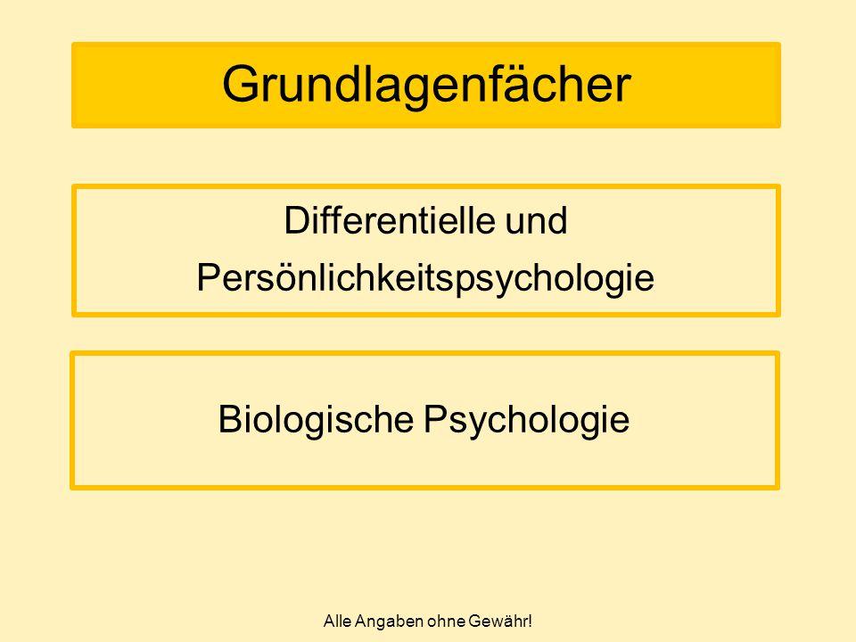 Alle Angaben ohne Gewähr! Grundlagenfächer Biologische Psychologie Differentielle und Persönlichkeitspsychologie