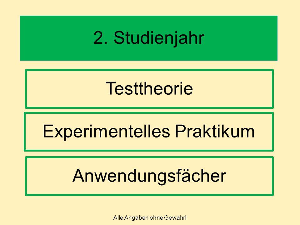 Alle Angaben ohne Gewähr! 2. Studienjahr Testtheorie Experimentelles Praktikum Anwendungsfächer