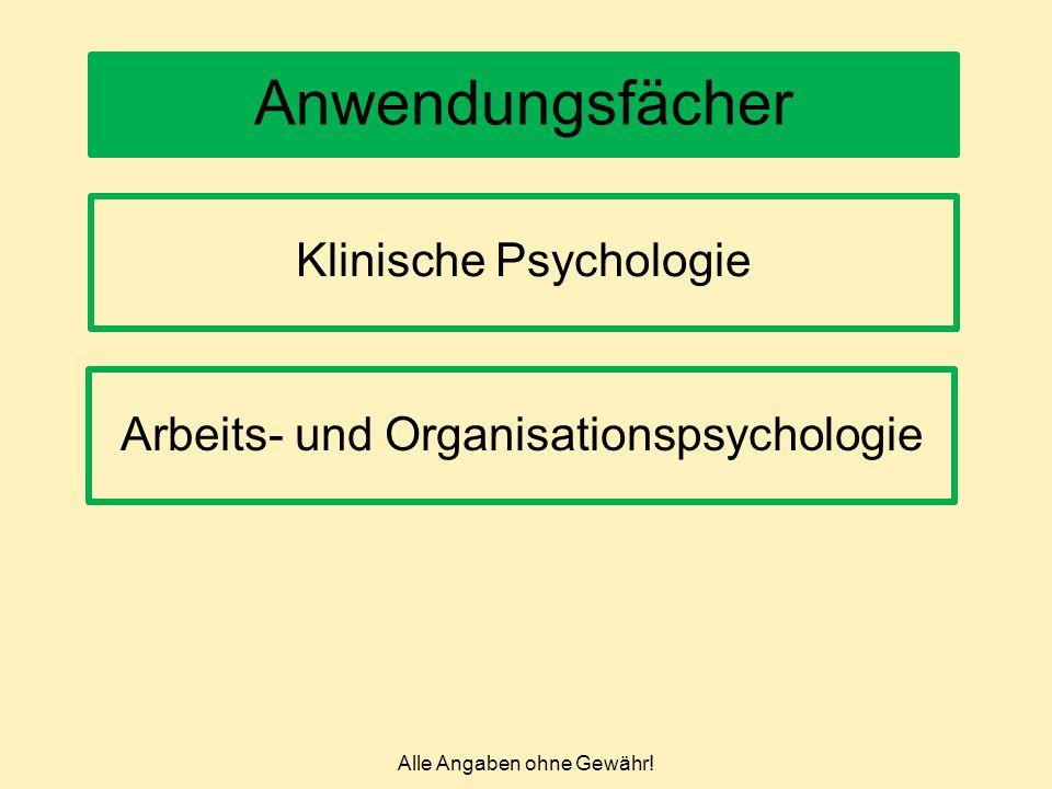 Alle Angaben ohne Gewähr! Anwendungsfächer Arbeits- und Organisationspsychologie Klinische Psychologie