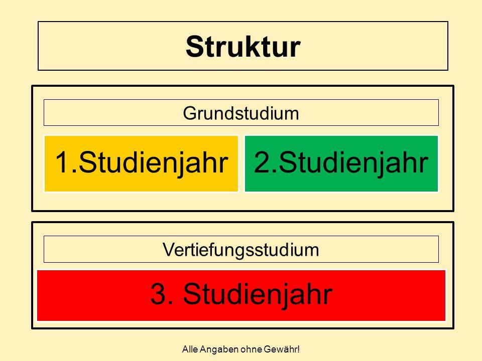 Struktur Alle Angaben ohne Gewähr! Grundstudium Vertiefungsstudium