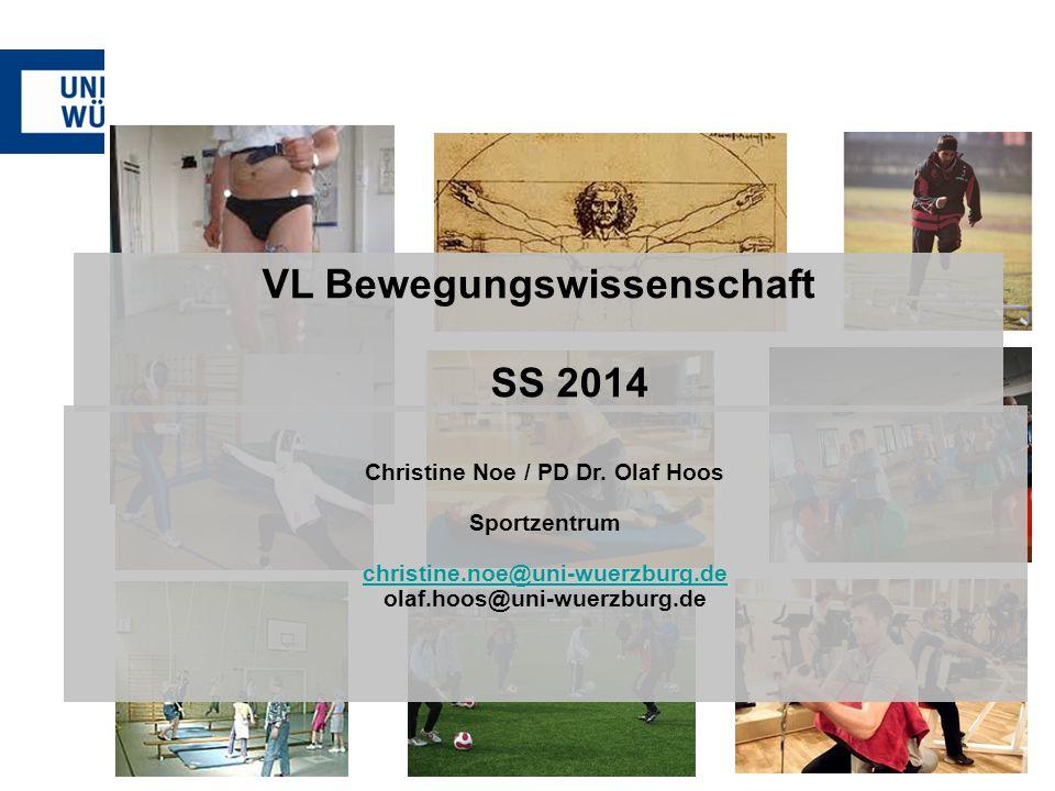 VL Bewegungswissenschaft SS 2014 Christine Noe / PD Dr. Olaf Hoos Sportzentrum christine.noe@uni-wuerzburg.de olaf.hoos@uni-wuerzburg.de