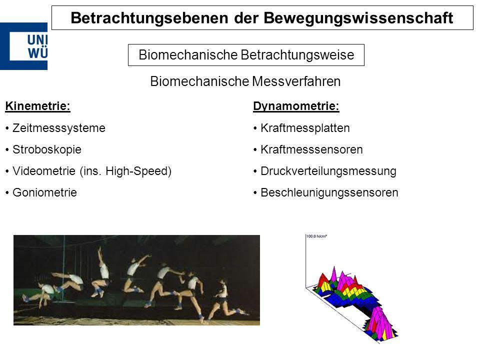 Biomechanische Betrachtungsweise Biomechanische Messverfahren Dynamometrie: Kraftmessplatten Kraftmesssensoren Druckverteilungsmessung Beschleunigungs