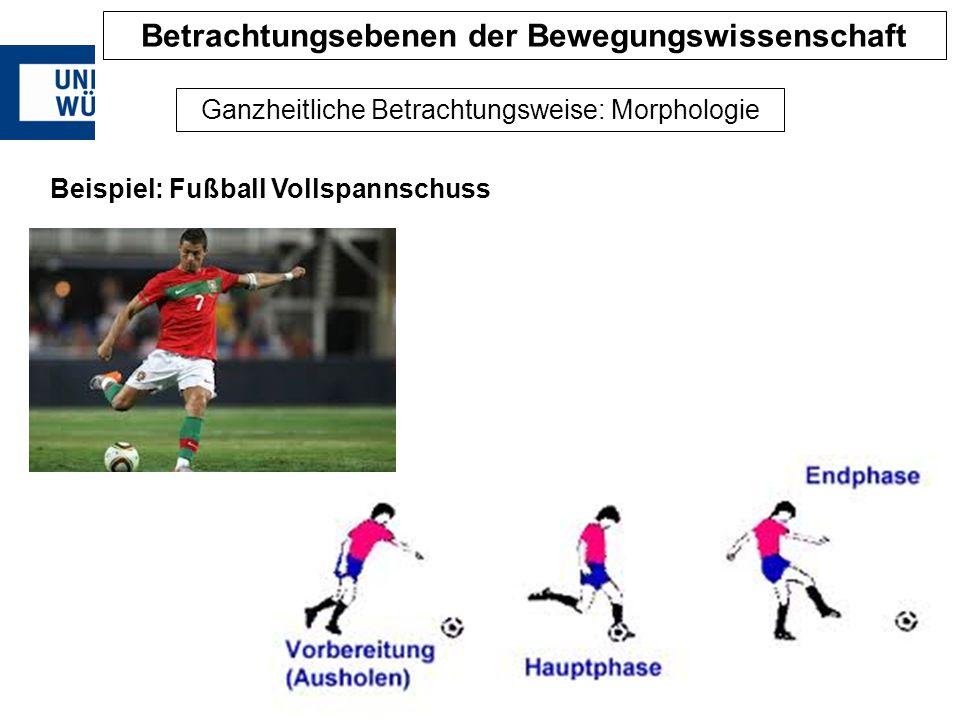 Ganzheitliche Betrachtungsweise: Morphologie Beispiel: Fußball Vollspannschuss Betrachtungsebenen der Bewegungswissenschaft