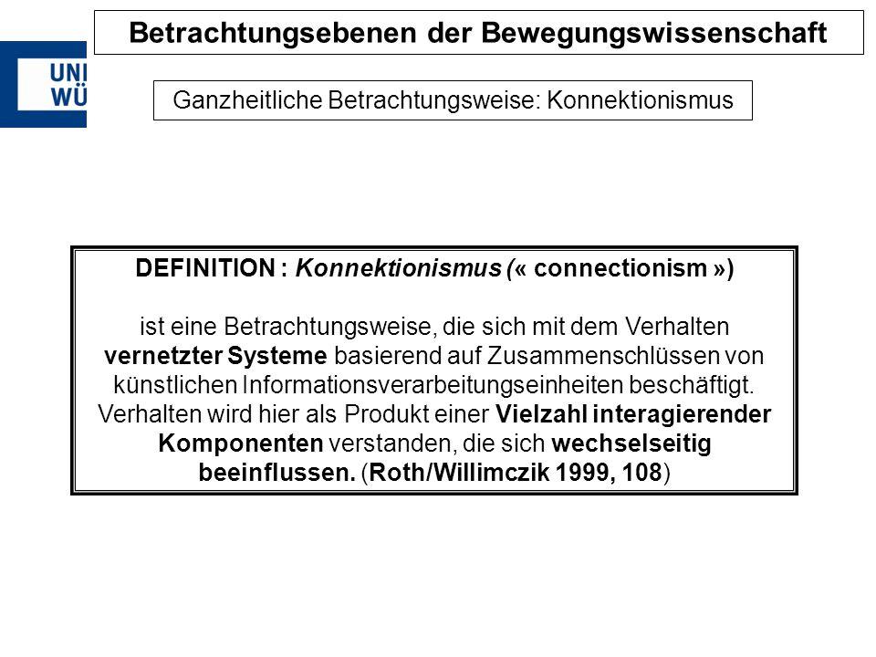 DEFINITION : Konnektionismus (« connectionism ») ist eine Betrachtungsweise, die sich mit dem Verhalten vernetzter Systeme basierend auf Zusammenschlü