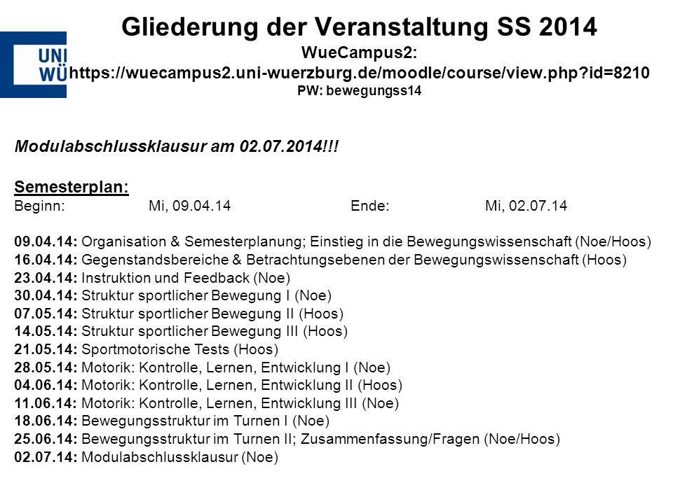 Gliederung der Veranstaltung SS 2014 WueCampus2: https://wuecampus2.uni-wuerzburg.de/moodle/course/view.php?id=8210 PW: bewegungss14 Modulabschlusskla