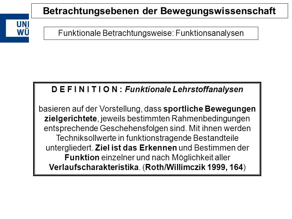 D E F I N I T I O N : Funktionale Lehrstoffanalysen basieren auf der Vorstellung, dass sportliche Bewegungen zielgerichtete, jeweils bestimmten Rahmen