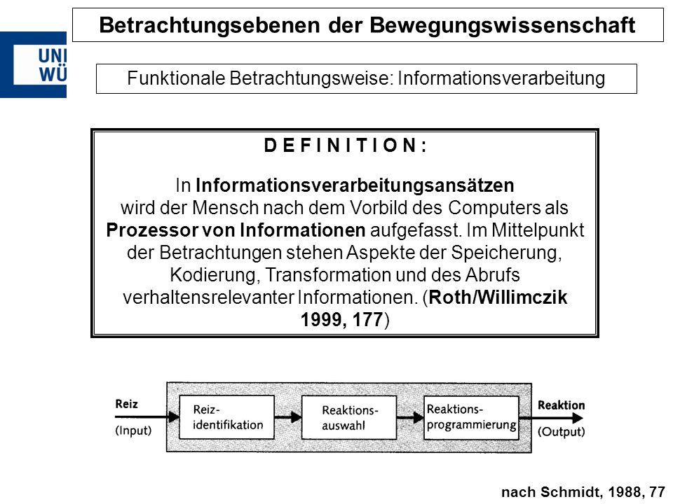 D E F I N I T I O N : In Informationsverarbeitungsansätzen wird der Mensch nach dem Vorbild des Computers als Prozessor von Informationen aufgefasst.