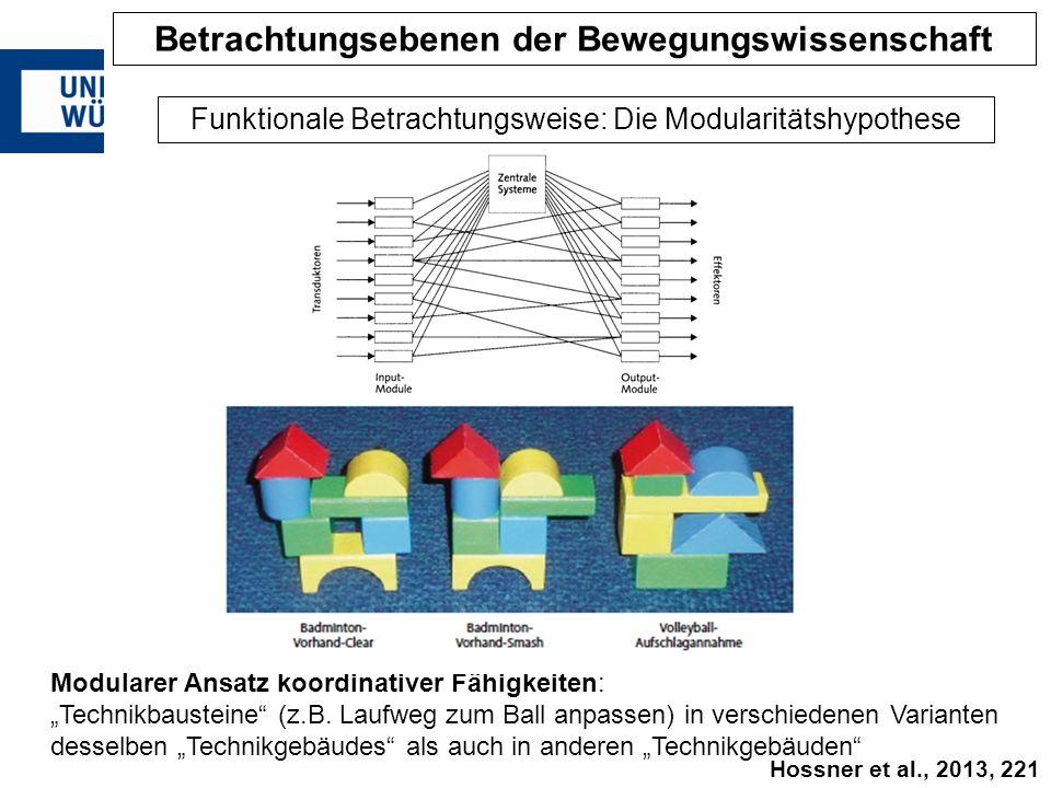 """Modularer Ansatz koordinativer Fähigkeiten: """"Technikbausteine"""" (z.B. Laufweg zum Ball anpassen) in verschiedenen Varianten desselben """"Technikgebäudes"""""""