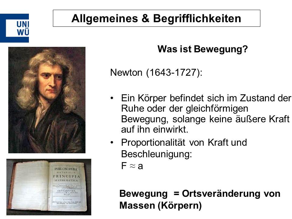 Allgemeines & Begrifflichkeiten Was ist Bewegung? Newton (1643-1727): Ein Körper befindet sich im Zustand der Ruhe oder der gleichförmigen Bewegung, s