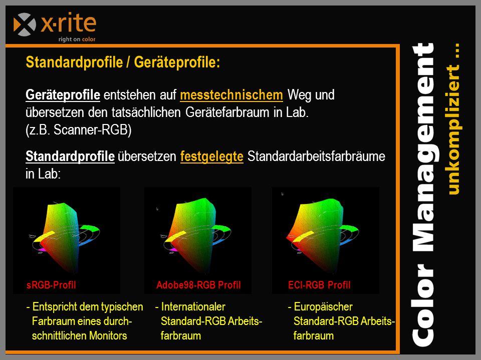 Standardprofile / Geräteprofile: Geräteprofile entstehen auf messtechnischem Weg und übersetzen den tatsächlichen Gerätefarbraum in Lab.