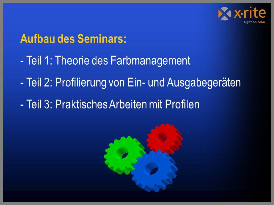 Aufbau des Seminars: - Teil 1: Theorie des Farbmanagement - Teil 2: Profilierung von Ein- und Ausgabegeräten - Teil 3: Praktisches Arbeiten mit Profilen