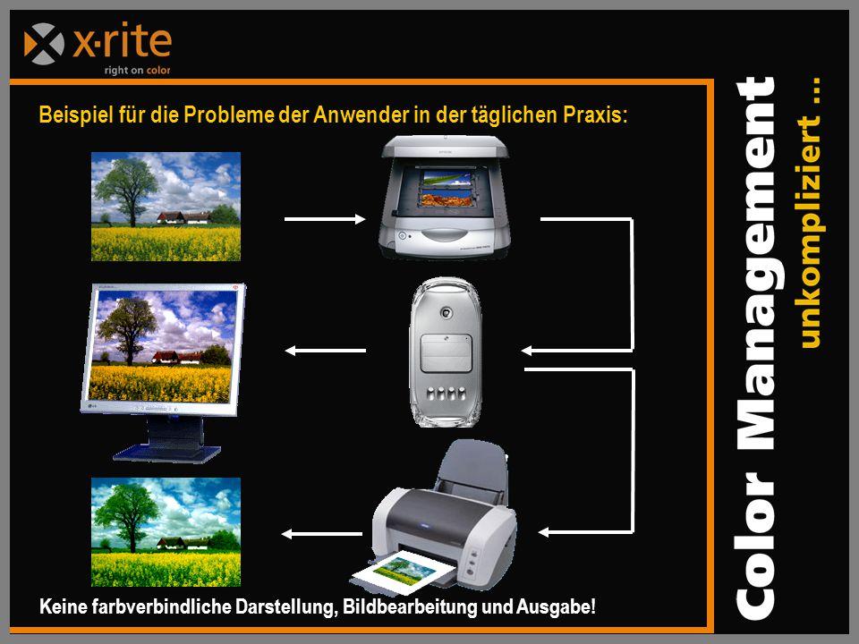 Beispiel für die Probleme der Anwender in der täglichen Praxis: Keine farbverbindliche Darstellung, Bildbearbeitung und Ausgabe!