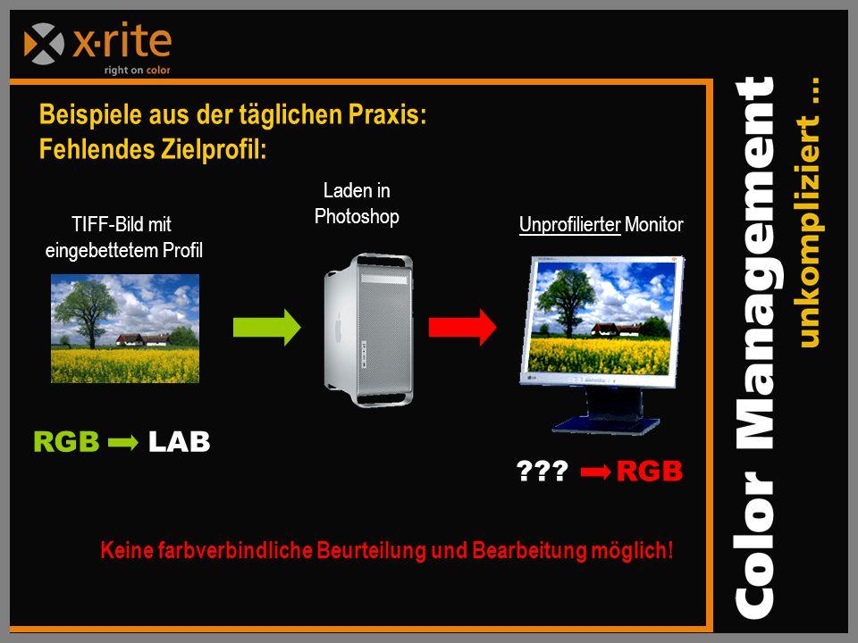 Beispiele aus der täglichen Praxis: Fehlendes Zielprofil: TIFF-Bild mit eingebettetem Profil Unprofilierter Monitor RGB LAB ??.
