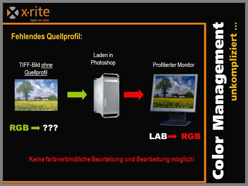 Fehlendes Quellprofil: TIFF-Bild ohne Quellprofil Profilierter Monitor RGB ??.