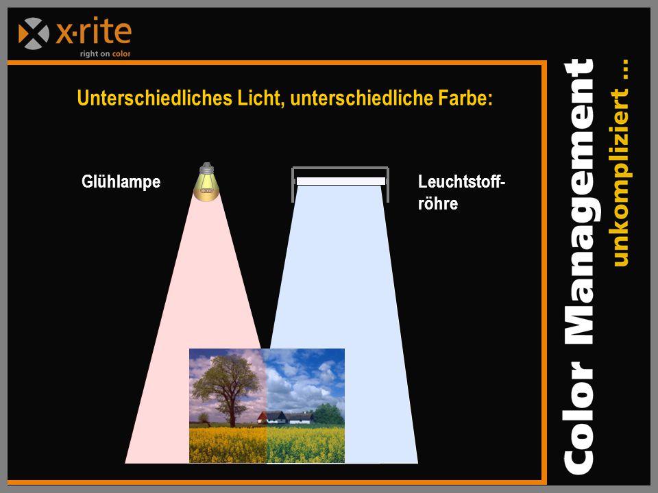 Glühlampe Leuchtstoff- röhre Unterschiedliches Licht, unterschiedliche Farbe: