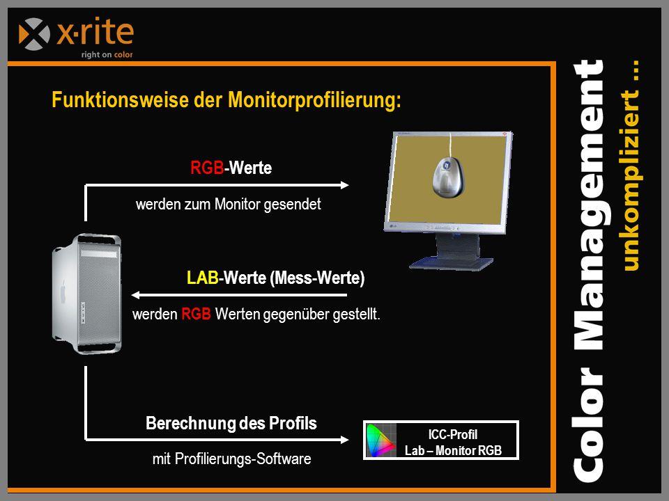 LAB-Werte (Mess-Werte) werden RGB Werten gegenüber gestellt.