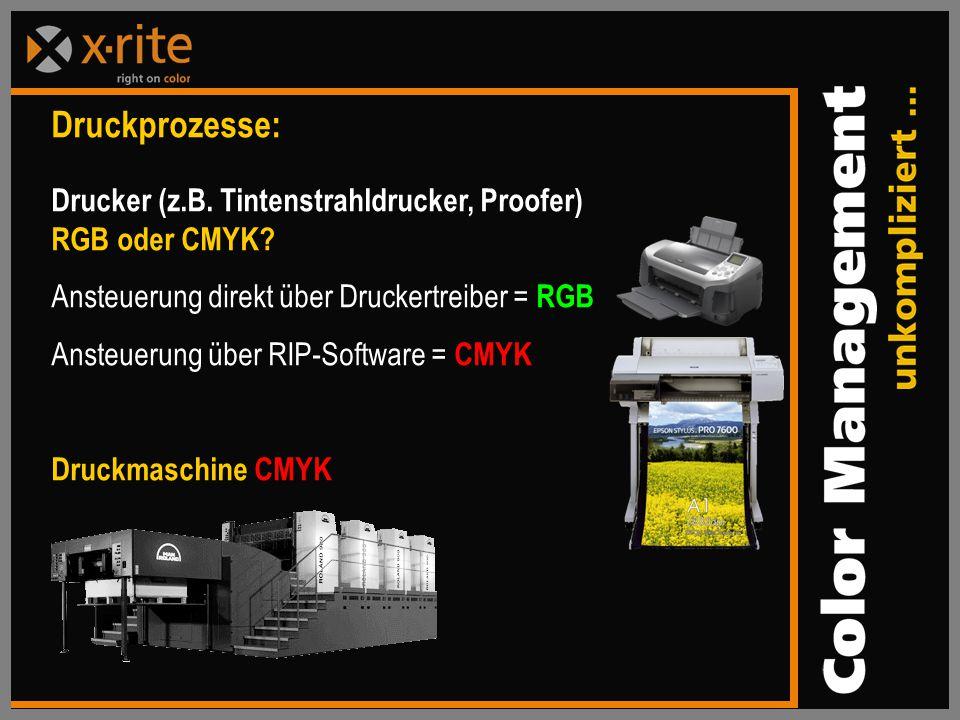 Druckprozesse: Drucker (z.B.Tintenstrahldrucker, Proofer) RGB oder CMYK.