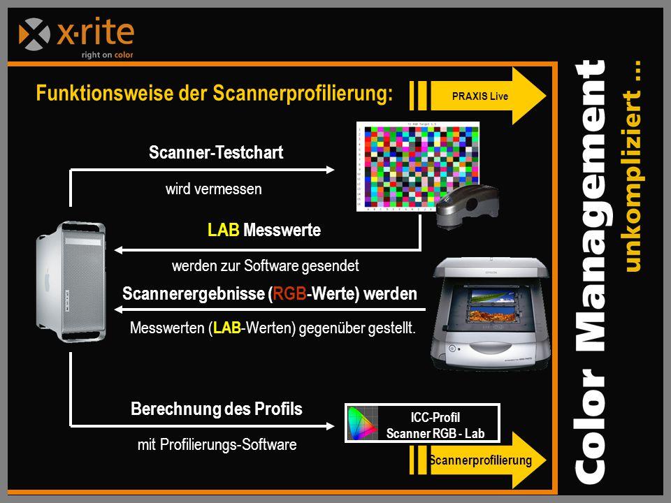 Berechnung des Profils mit Profilierungs-Software Funktionsweise der Scannerprofilierung: Scanner-Testchart wird vermessen LAB Messwerte werden zur Software gesendet Scannerergebnisse (RGB-Werte) werden Messwerten ( LAB -Werten) gegenüber gestellt.