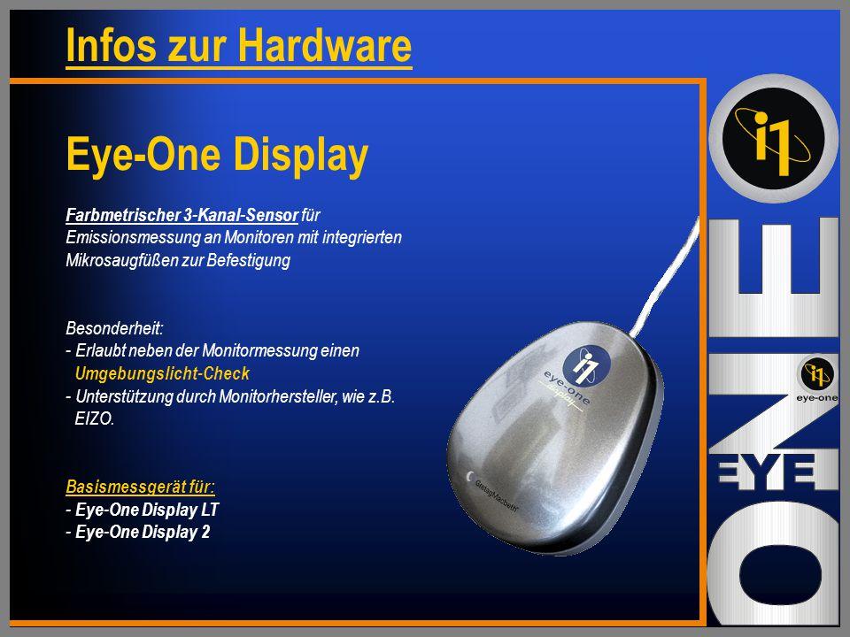 Farbmetrischer 3-Kanal-Sensor für Emissionsmessung an Monitoren mit integrierten Mikrosaugfüßen zur Befestigung Besonderheit: - Erlaubt neben der Monitormessung einen Umgebungslicht-Check - Unterstützung durch Monitorhersteller, wie z.B.