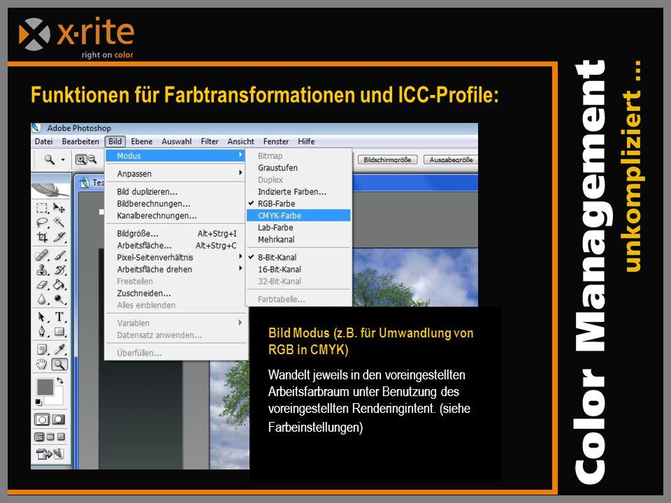 Funktionen für Farbtransformationen und ICC-Profile: Bild Modus (z.B.