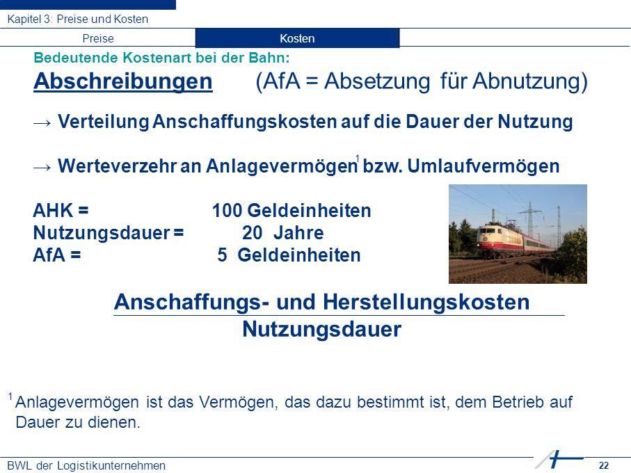 22 BWL der Logistikunternehmen Kapitel 3: Preise und Kosten Bedeutende Kostenart bei der Bahn: Abschreibungen (AfA = Absetzung für Abnutzung) →Verteil