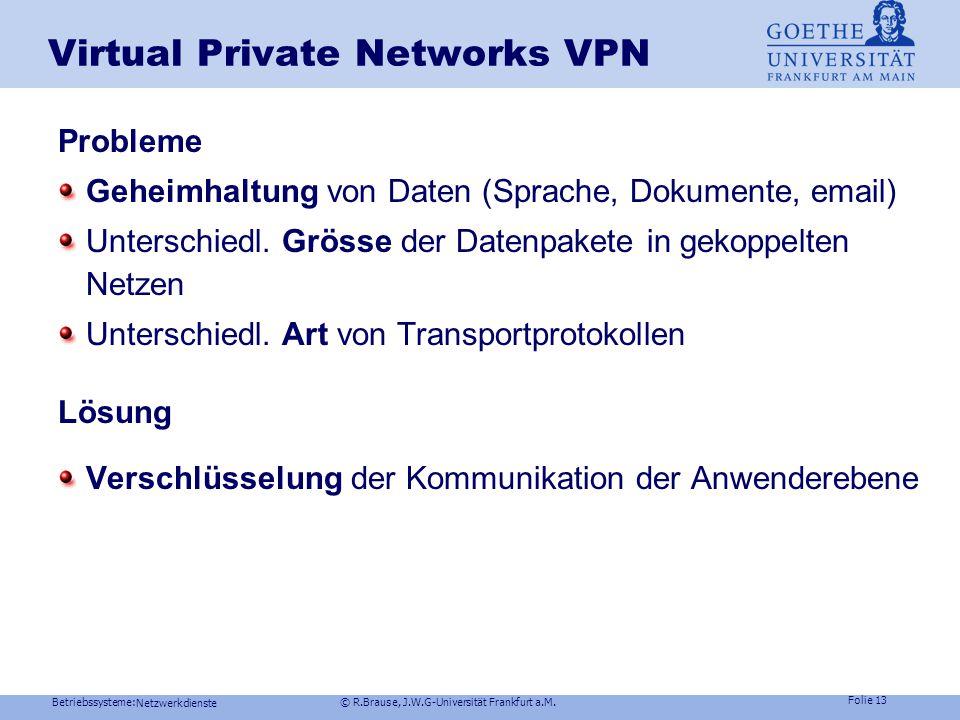 Betriebssysteme: © R.Brause, J.W.G-Universität Frankfurt a.M. Folie 12 Netzwerkdienste Kommunikationsschichten: Windows NT Kompatibilität zu bestehend