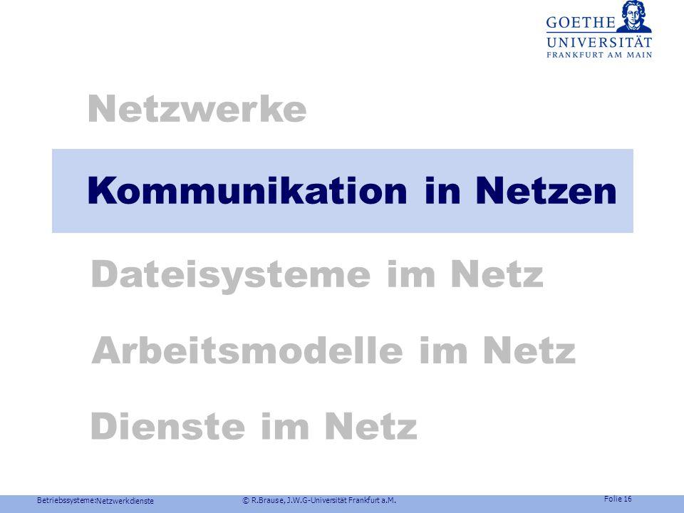 Betriebssysteme: © R.Brause, J.W.G-Universität Frankfurt a.M. Folie 15 Netzwerkdienste Technik VoIP, Video Anforderung: Viele Sprach/Bildsamples Lösun