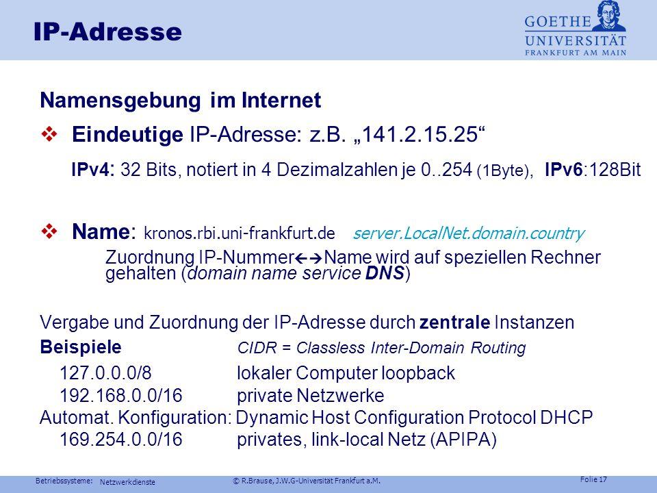 Betriebssysteme: © R.Brause, J.W.G-Universität Frankfurt a.M. Folie 16 Dienste im Netz Kommunikation in Netzen Dateisysteme im Netz Arbeitsmodelle im
