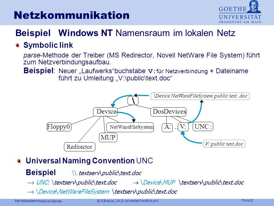Betriebssysteme: © R.Brause, J.W.G-Universität Frankfurt a.M. Folie 21 Netzwerkdienste Dateinamen: Windows NT Namensraum Wiederholung: Symbolic link p