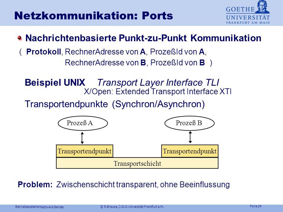 Betriebssysteme: © R.Brause, J.W.G-Universität Frankfurt a.M. Folie 23 Netzwerkdienste Netzkommunikation: Ports Konzept Punkt-zu-Punkt Kommunikation (