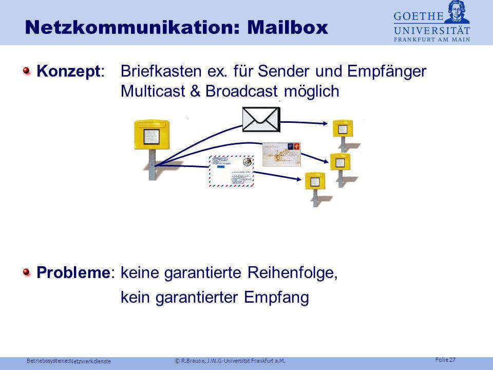 "Betriebssysteme: © R.Brause, J.W.G-Universität Frankfurt a.M. Folie 26 Netzwerkdienste Netzkommunikation : Named Pipes Globales Konzept: Named pipe ("""
