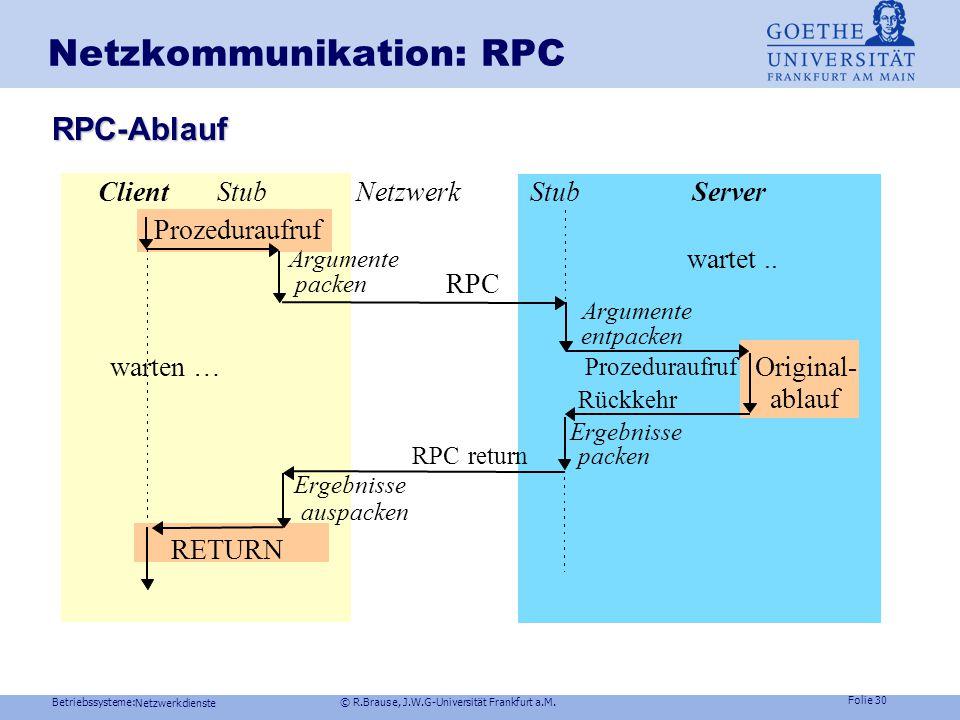 Betriebssysteme: © R.Brause, J.W.G-Universität Frankfurt a.M. Folie 29 Netzwerkdienste Netzkommunikation: RPC Konzept:Prozedur-Fernaufruf Remote Proce