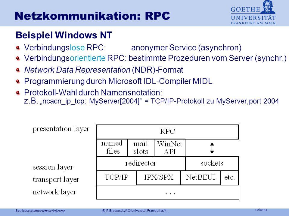 Betriebssysteme: © R.Brause, J.W.G-Universität Frankfurt a.M. Folie 32 Netzwerkdienste Netzkommunikation: RPC Beispiel Unix Spezielle C-Bibliotheken /
