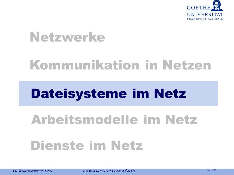 Betriebssysteme: © R.Brause, J.W.G-Universität Frankfurt a.M. Folie 33 Netzwerkdienste Netzkommunikation: RPC Beispiel Windows NT Verbindungslose RPC: