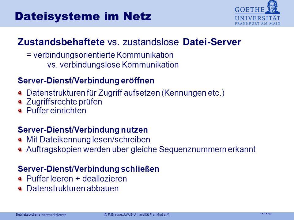 Betriebssysteme: © R.Brause, J.W.G-Universität Frankfurt a.M. Folie 39 Netzwerkdienste Dateisysteme im NetzZugriffssemantiken Read Only File Problemlo