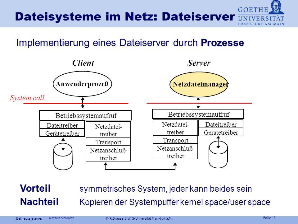 Betriebssysteme: © R.Brause, J.W.G-Universität Frankfurt a.M. Folie 46 Netzwerkdienste Dateisysteme im Netz: Cache Beispiel UNIX NFS-Cachestrategien A