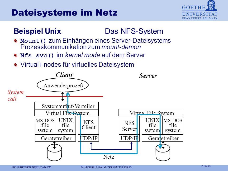Betriebssysteme: © R.Brause, J.W.G-Universität Frankfurt a.M. Folie 48 Netzwerkdienste Dateisysteme im Netz: Dateiserver Treiber Implementierung eines