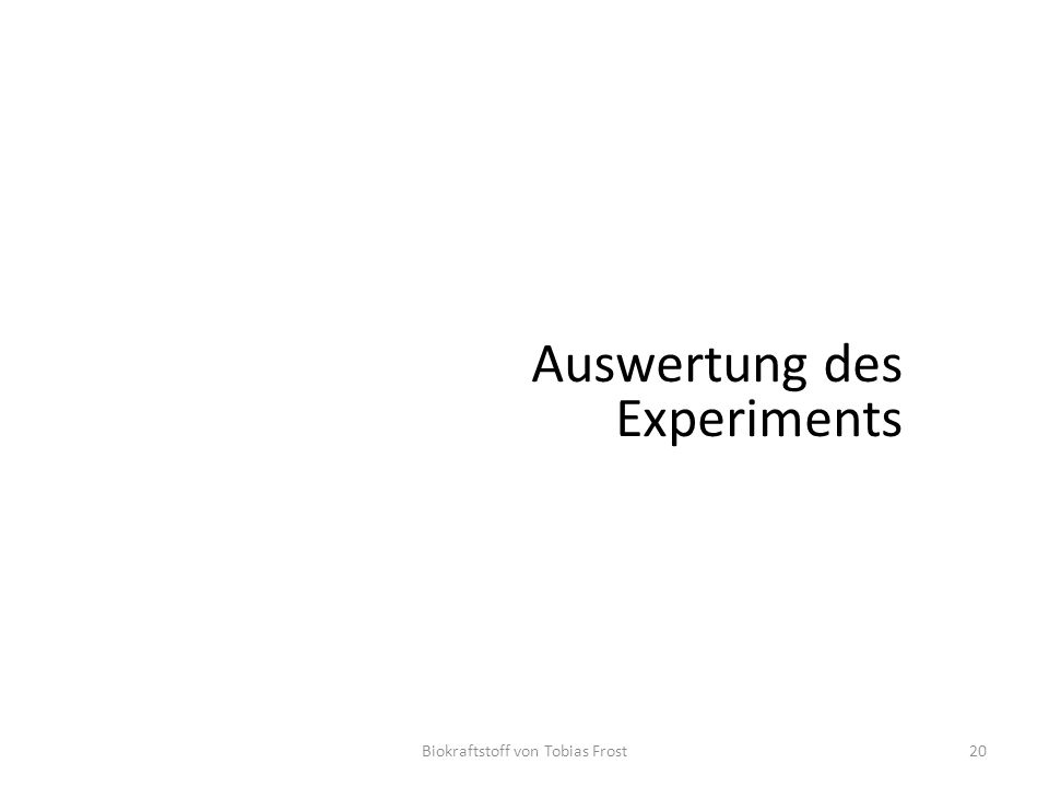 Biokraftstoff von Tobias Frost20 Auswertung des Experiments